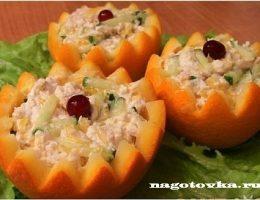 Миниатюра к статье Салат с куриным филе и огурцами в апельсине