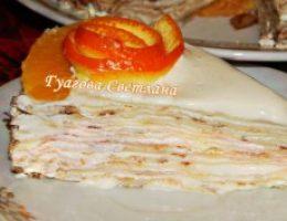 Миниатюра к статье Блинный тортик с творожным кремом , мягкий , пропитанный